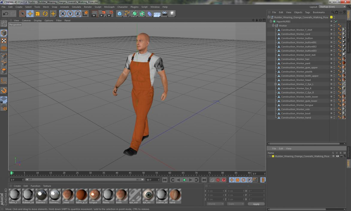 3D model Builder Wearing Orange Coveralls Walking Pose | 3D