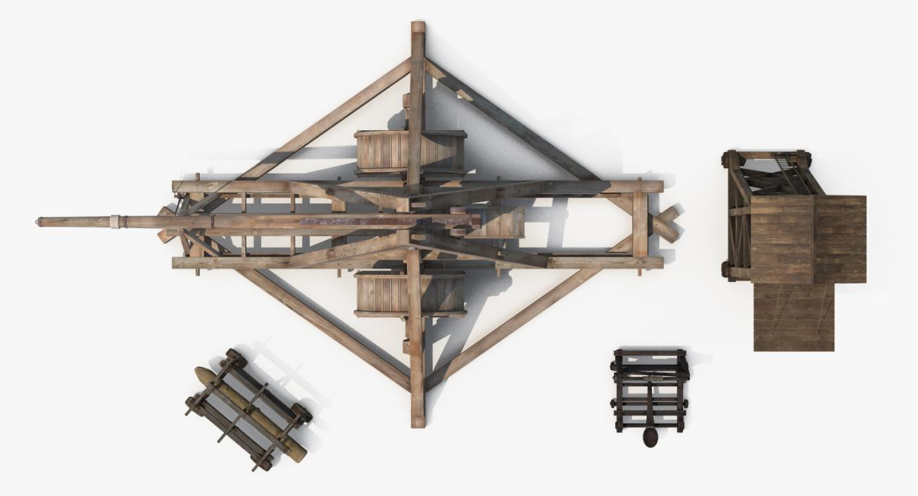 3D Medieval Siege Weapons Collection model