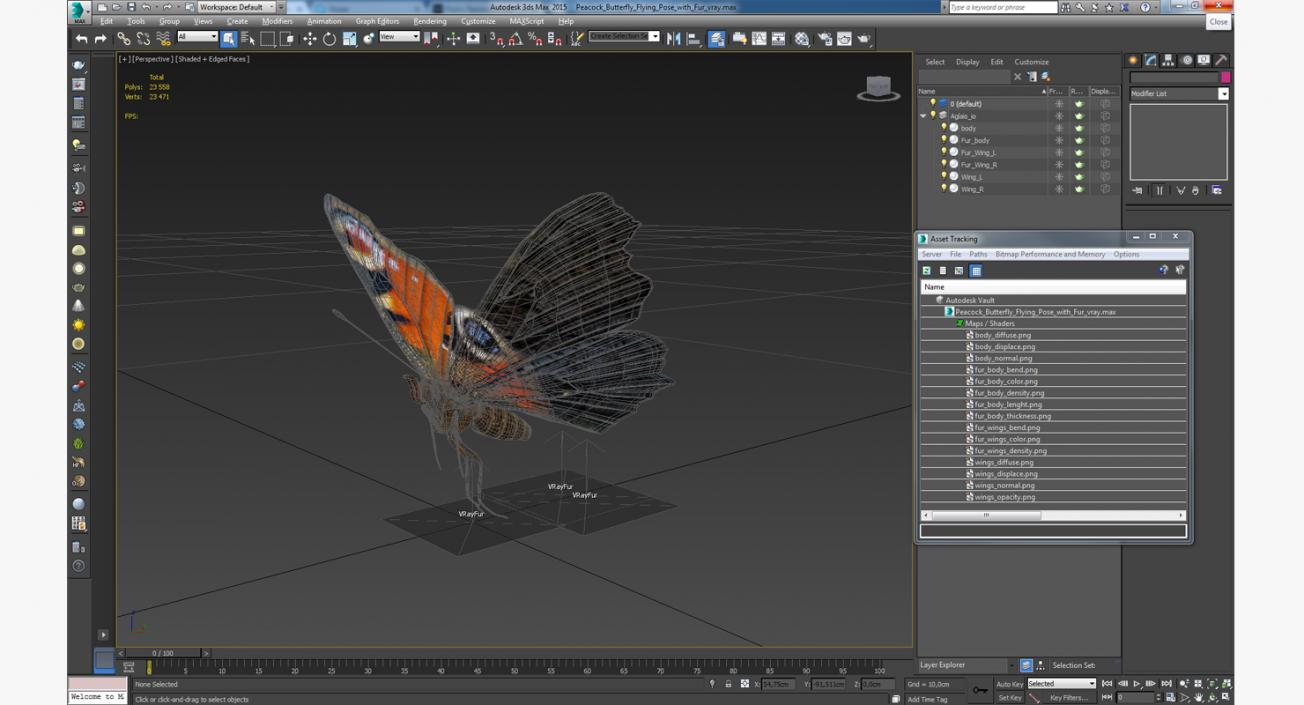 3D Peacock Butterfly Flying Pose with Fur model | 3D Molier