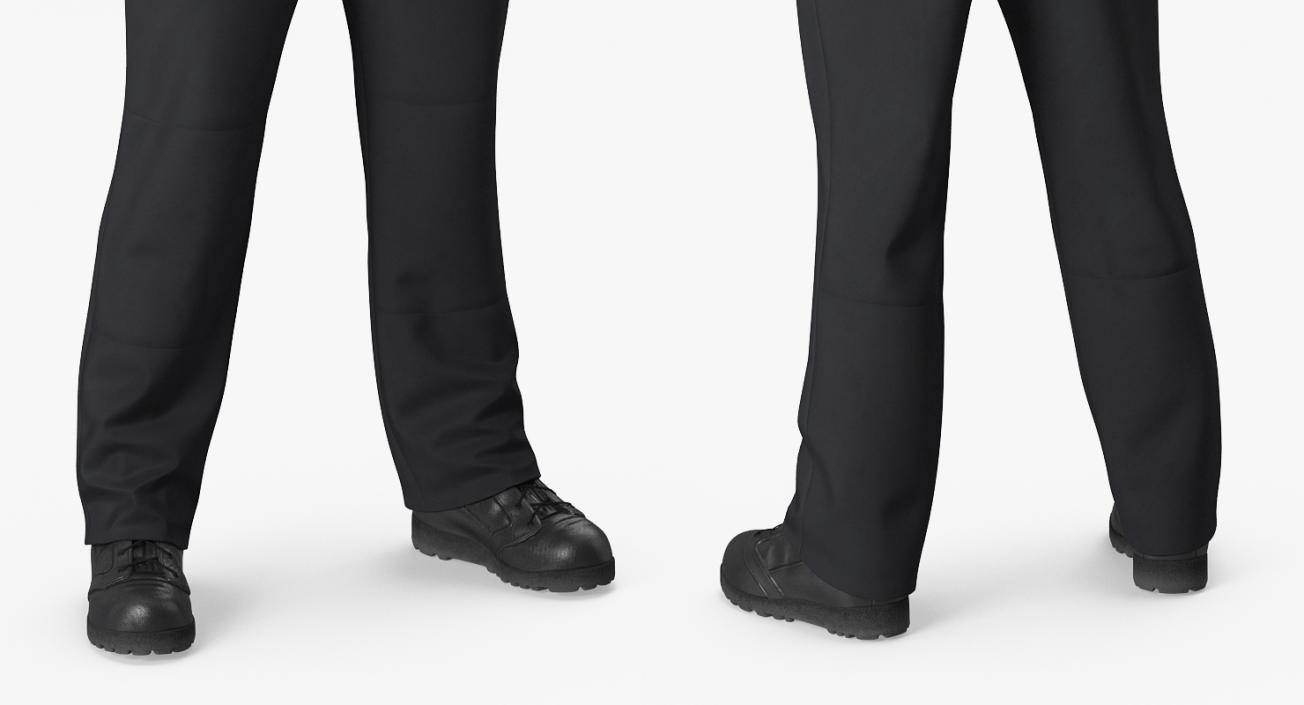 Worker Black Uniform with Hardhat Standing Pose 3D