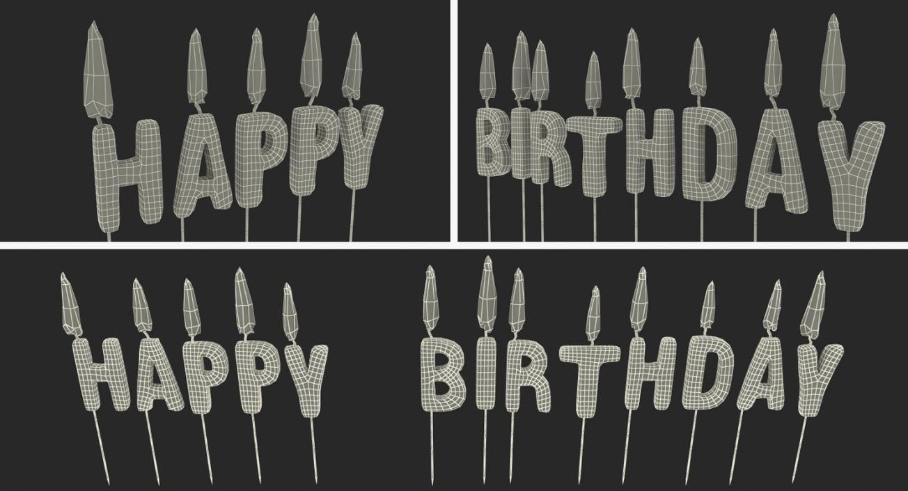 3D Happy Birthday Candles with Flame model