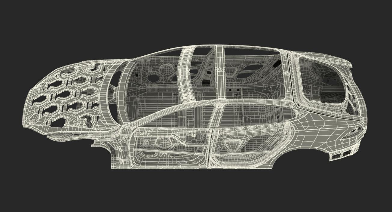 3D Tesla Model S Frame Rigged