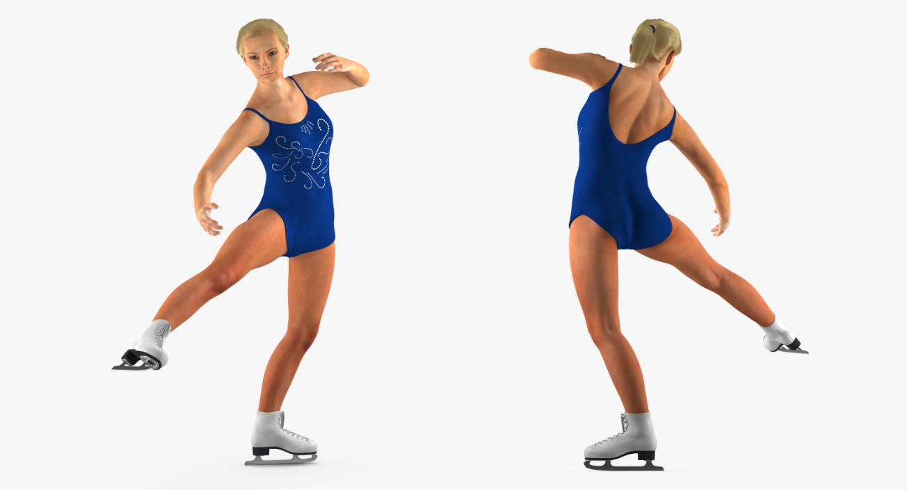 Female Figure Skater 2 Rigged 3D model