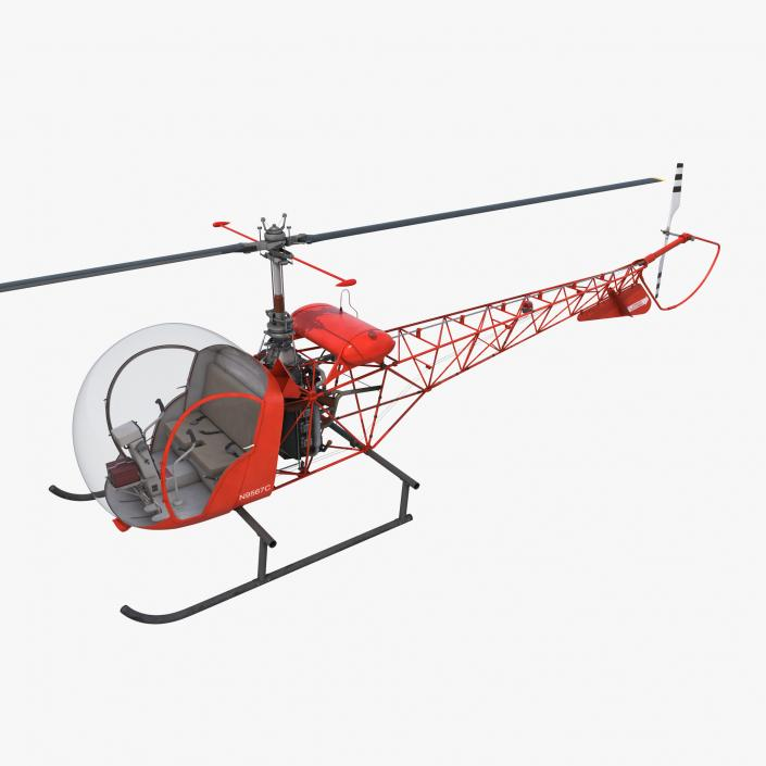 3d light helicopter bell 47 red model