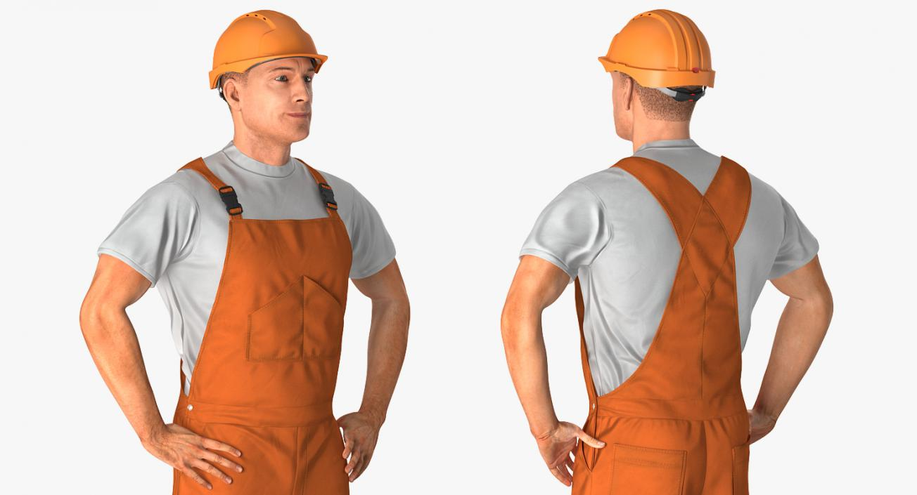 Worker In Orange Overalls with Hardhat Standing Pose 3D