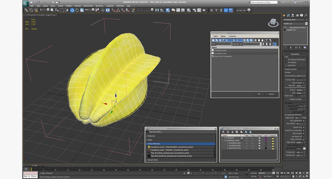 Star Fruit Or Carambola Fruit 3D model