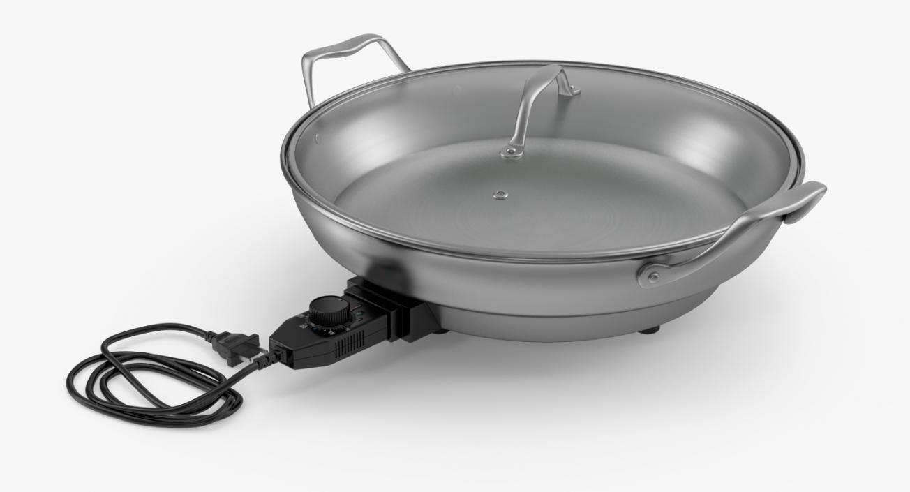 Round Electric Skillet 3D