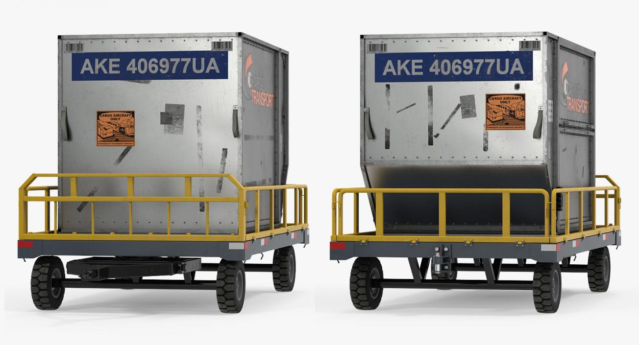 Airport Luggage Trolley Baggage Trailer with Container 3D model