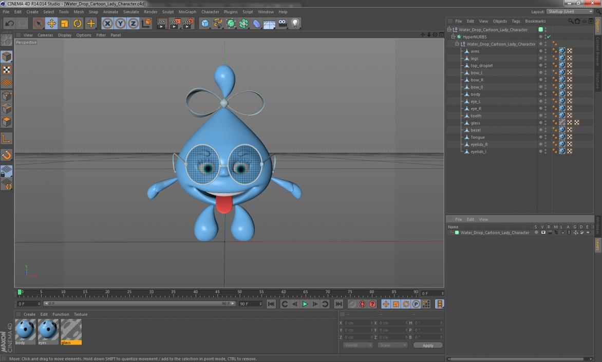 3D Water Drop Cartoon Lady Character model | 3D Molier International