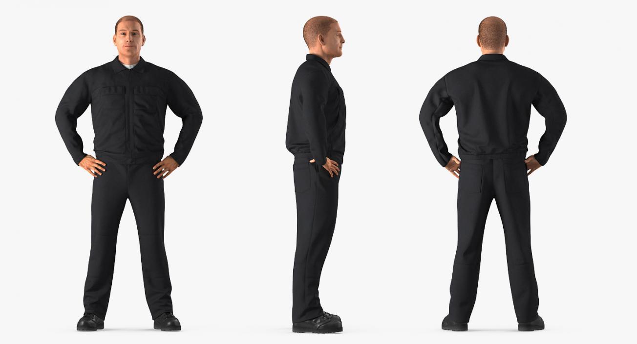 Worker Black Uniform Standing Pose 3D model