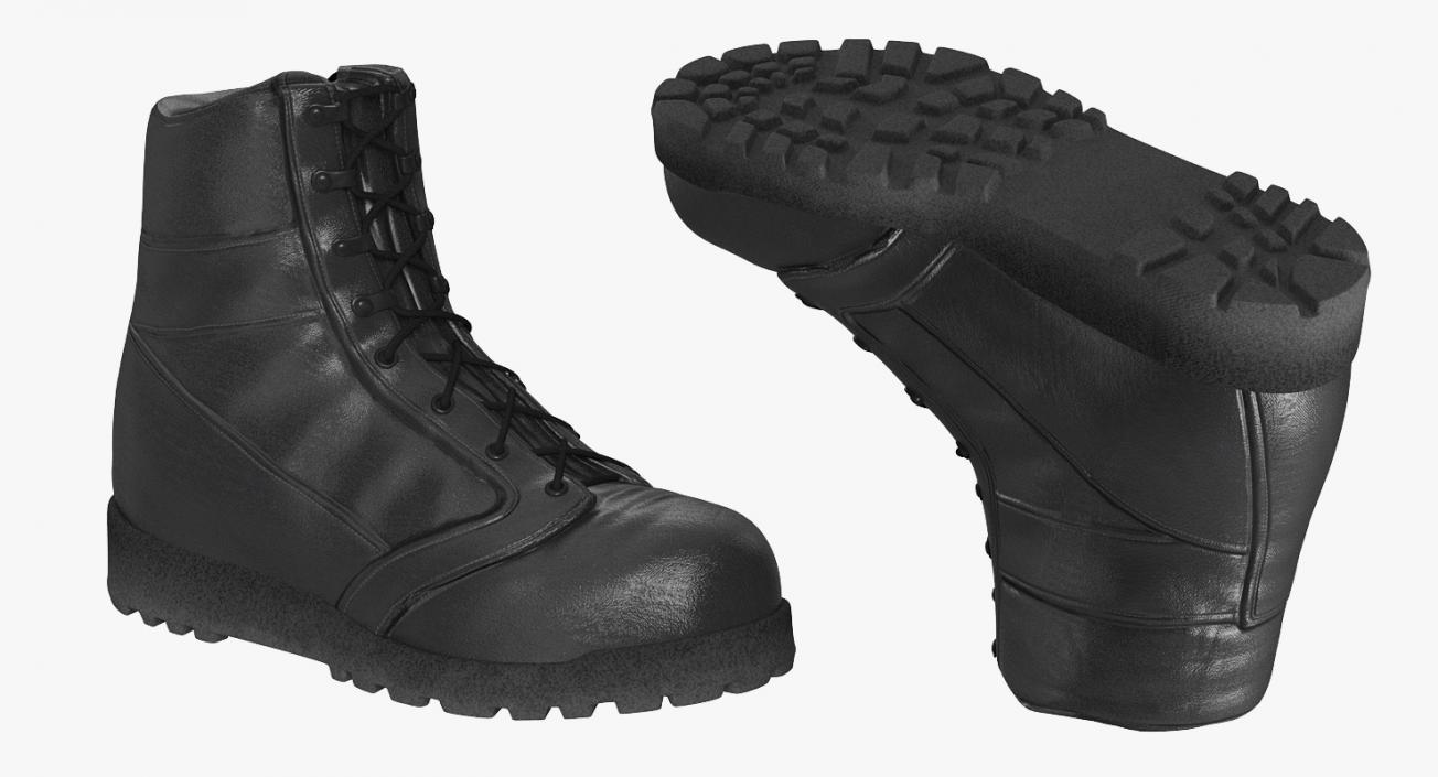 3D model Construction Worker Black Uniform with Hardhat Standing