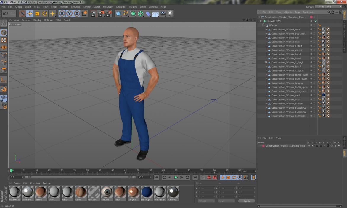 3D Construction Worker Standing Pose model