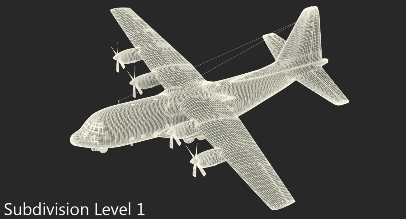 Lockheed C-130 Hercules US Military Transport Aircraft 3D model