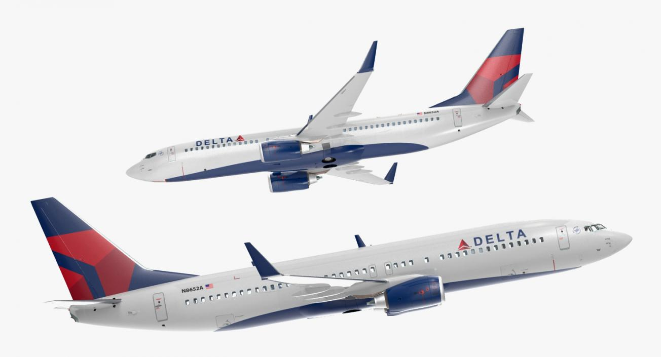 Boeing 737-800 with Interior Delta Air Lines 3D model