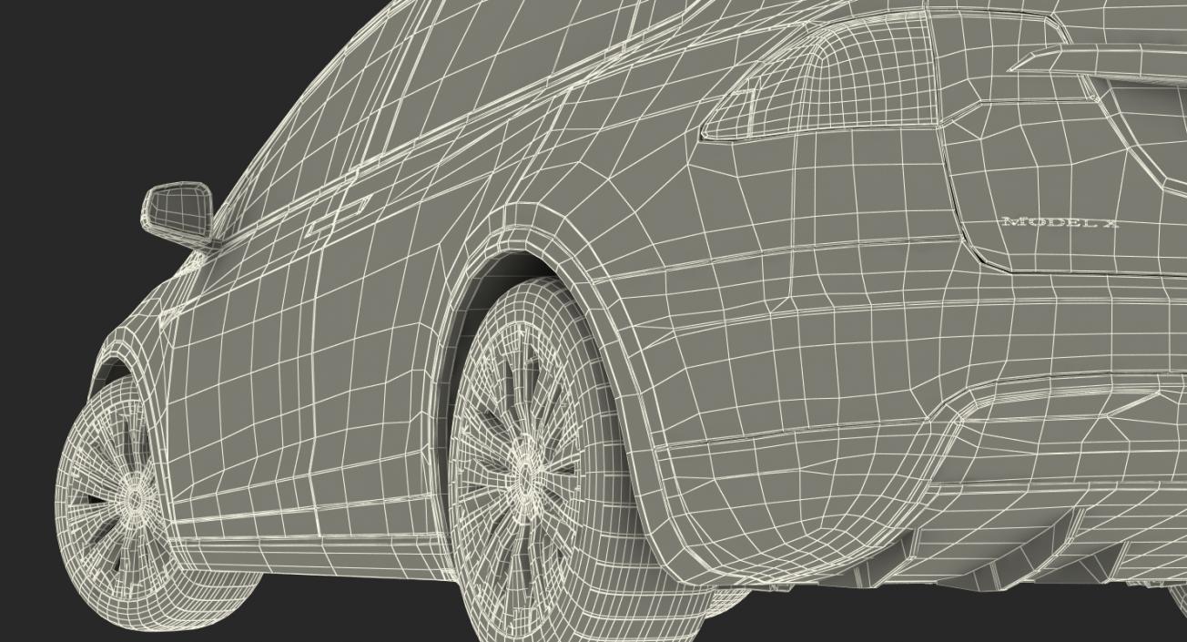 3D Tesla Model X P100D 2017 Rigged