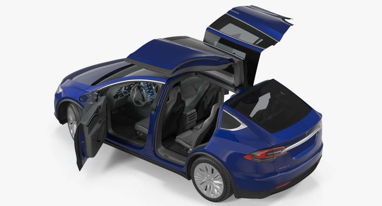 3D Tesla Model X P100D 2017 Rigged