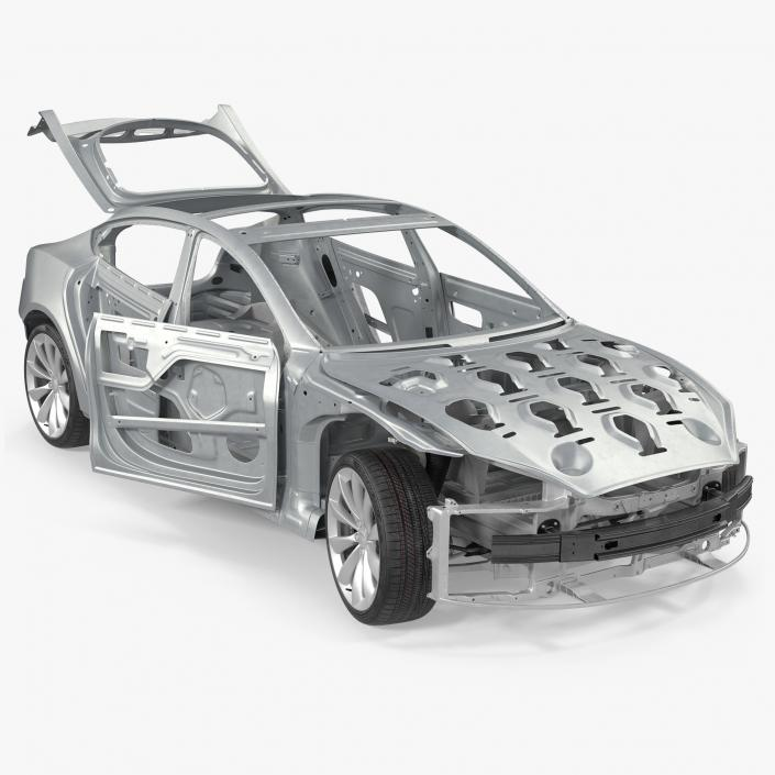 3D Tesla Model S Frame and Chassis Rigged model