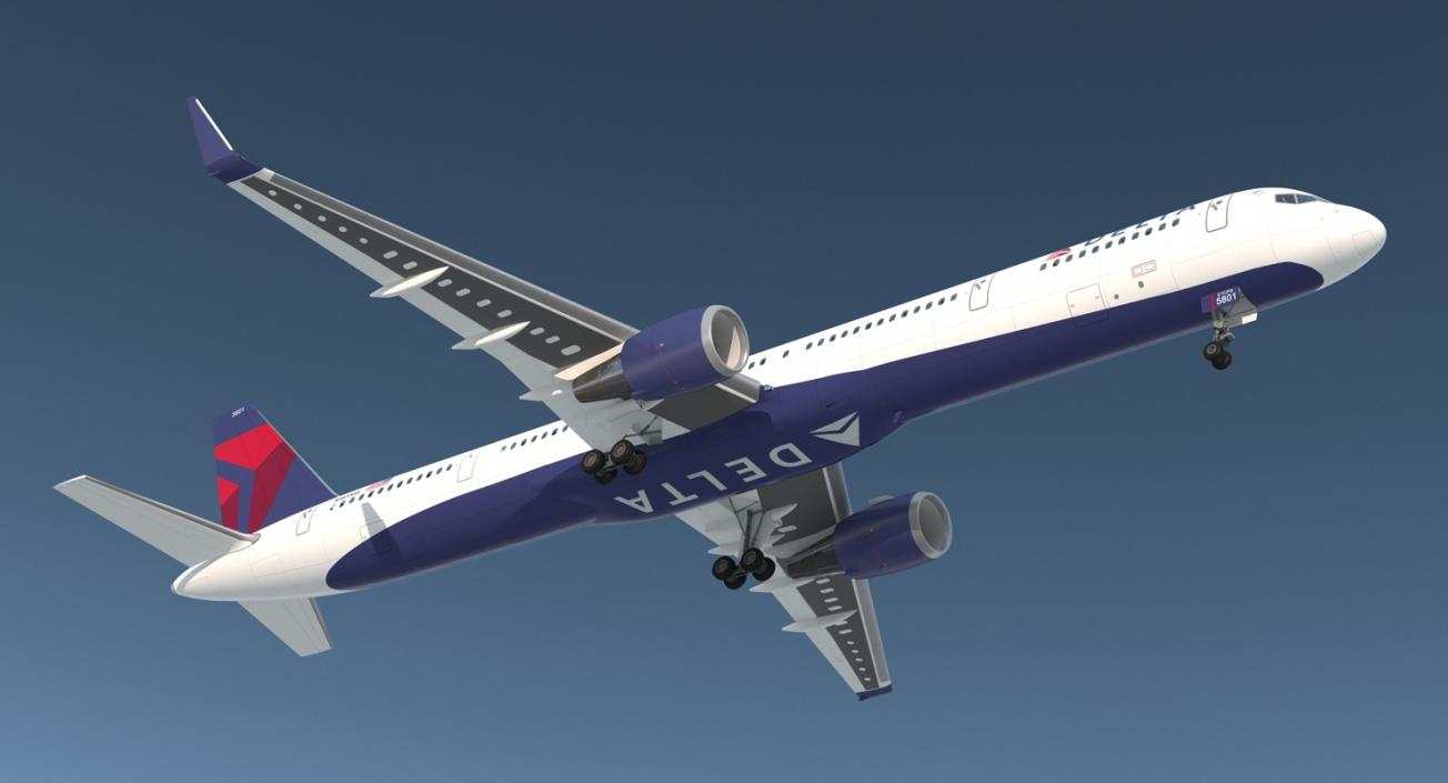 3d Boeing 757 300 With Interior And Cockpit Delta Air Lines Rigged