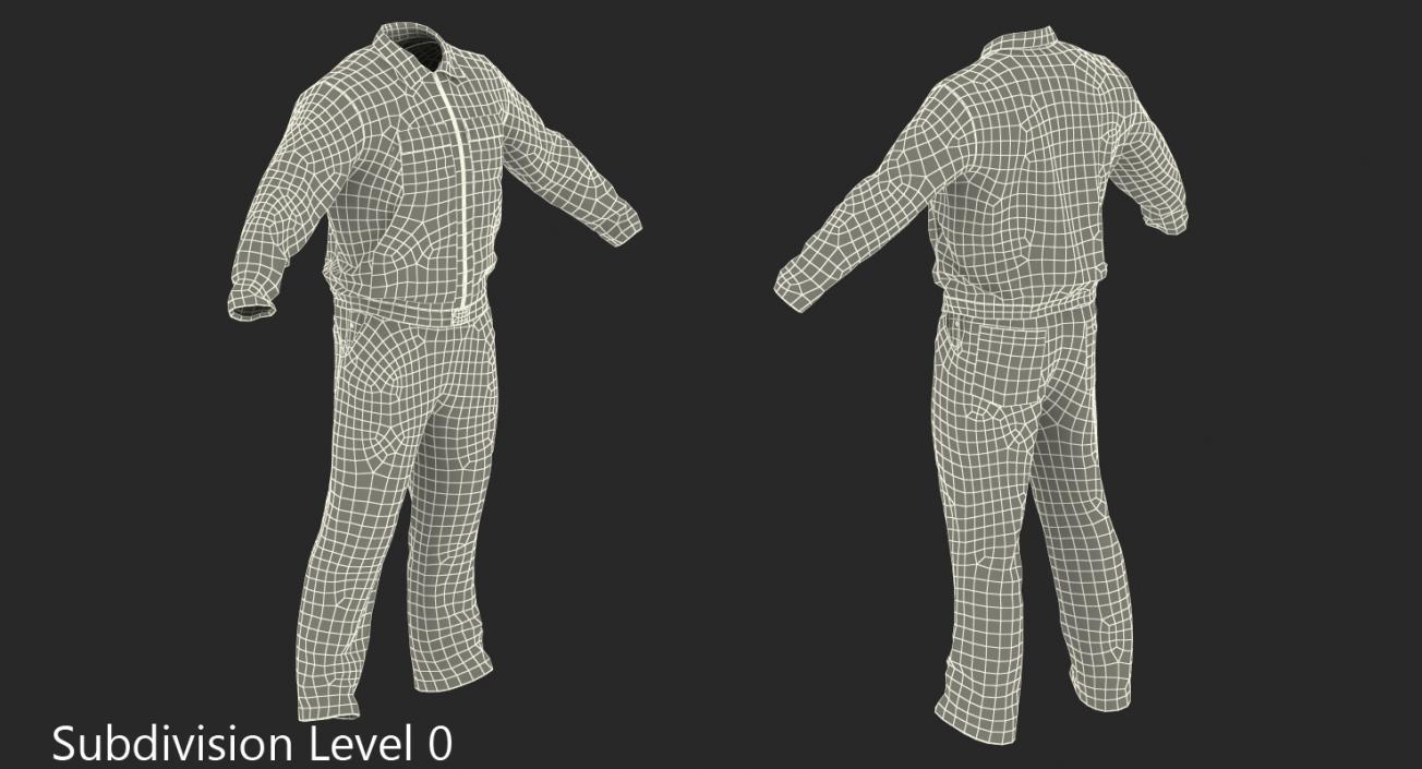 3D Mens Work Wear Mechanics Overalls model