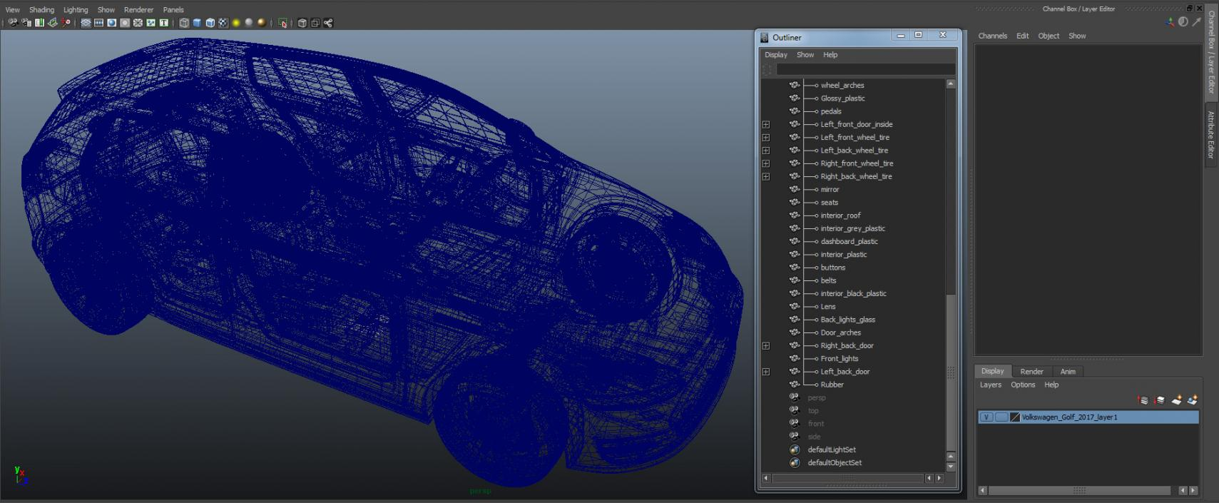 3D model Volkswagen Golf 2017