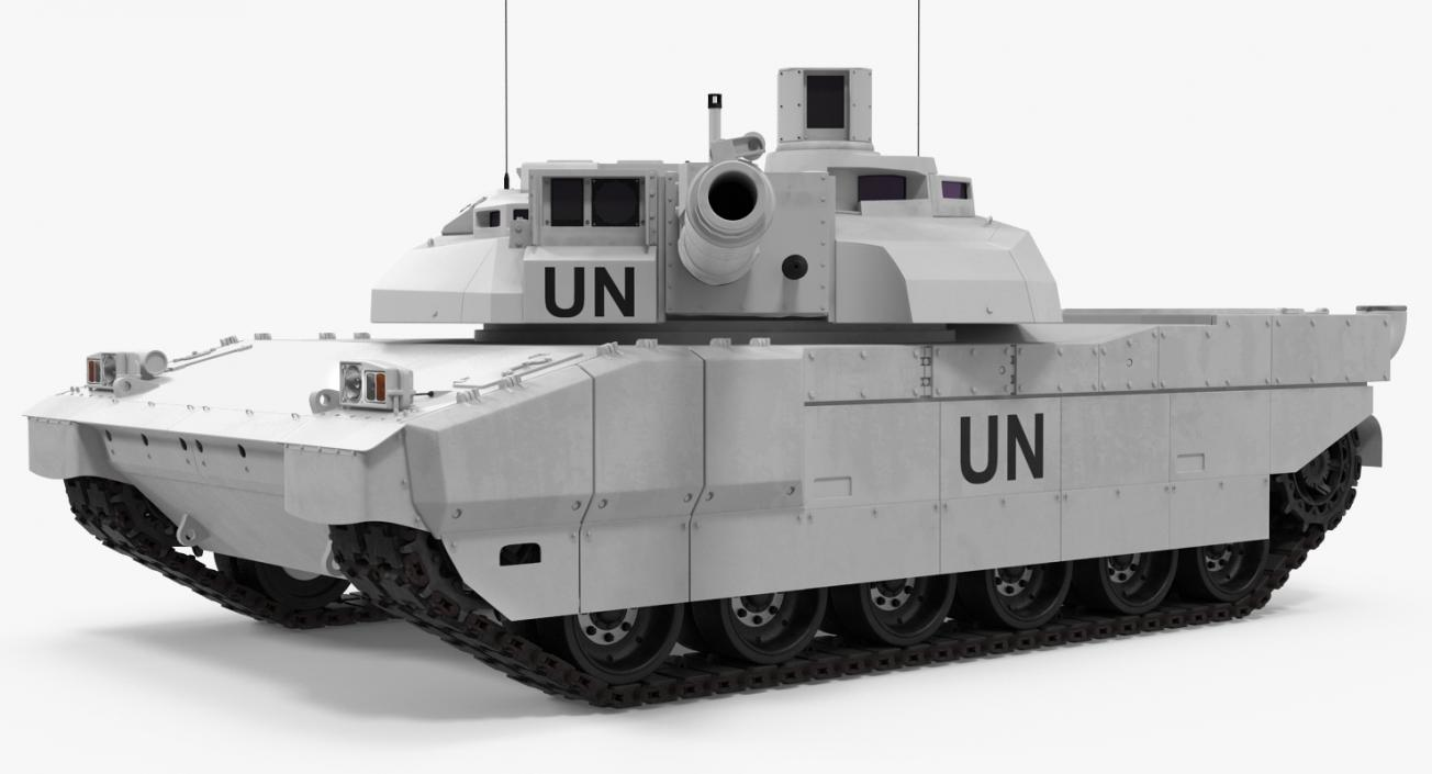 3D Tank AMX-56 Leclerc United Nations Rigged