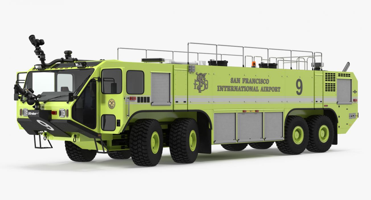 3D Oshkosh Striker 4500 Aircraft Rescue and Firefighting Vehicle Rigged model