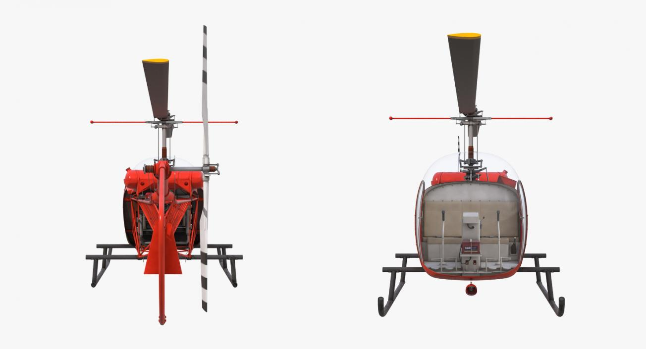 3d model light helicopter bell 47 red rigged
