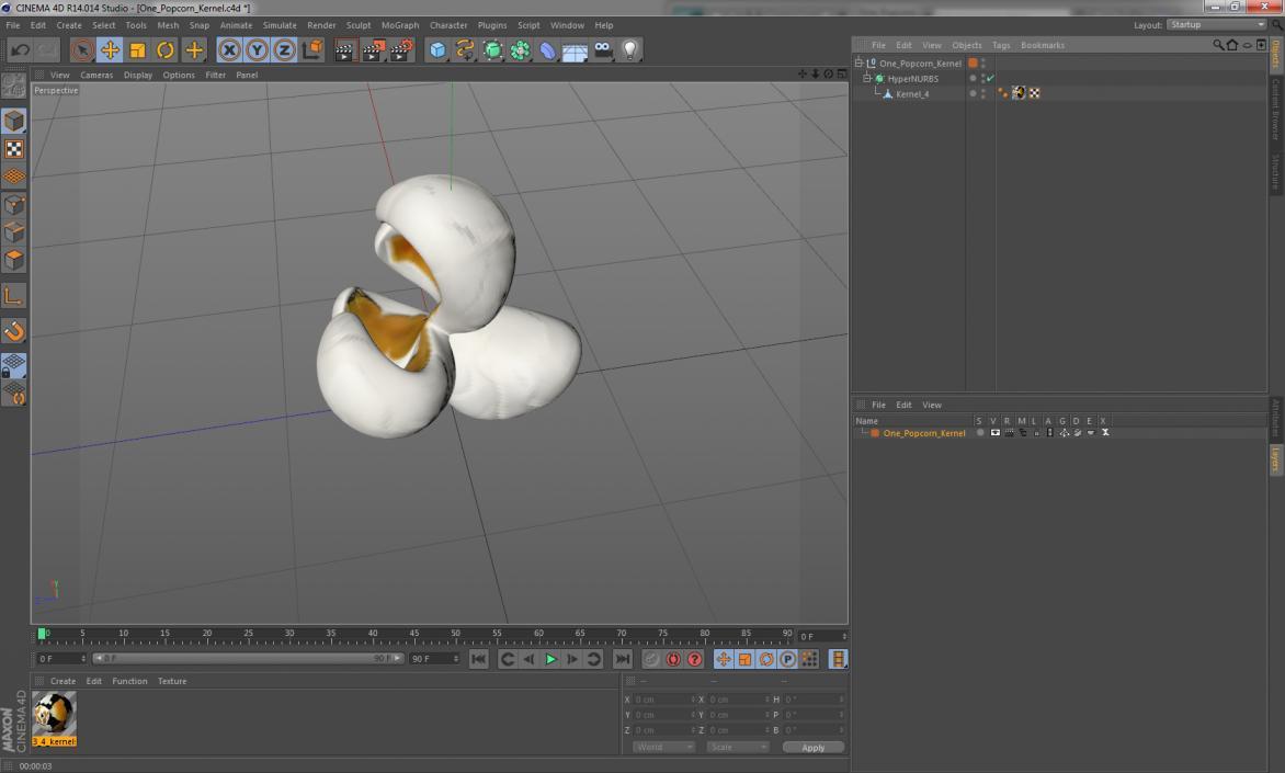 3D One Popcorn Kernel model