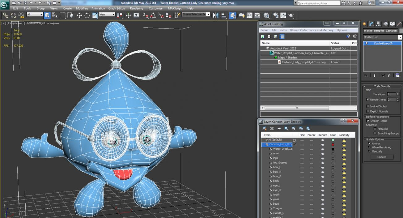 Water Droplet Cartoon Lady Character Smiling 3D model | 3D Molier