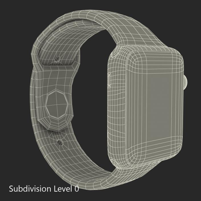3D Apple Watch Sport Band White Fluoroelastomer 2