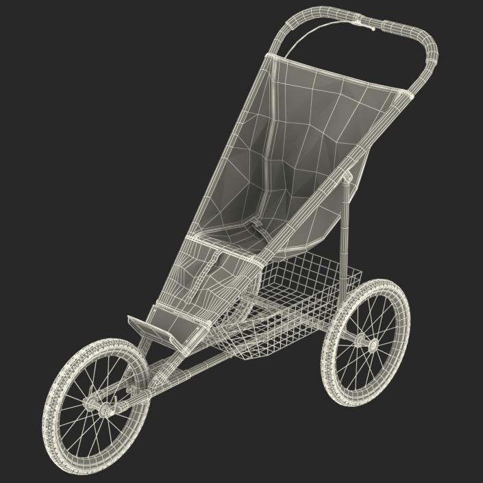 3D model Jogging Stroller Red