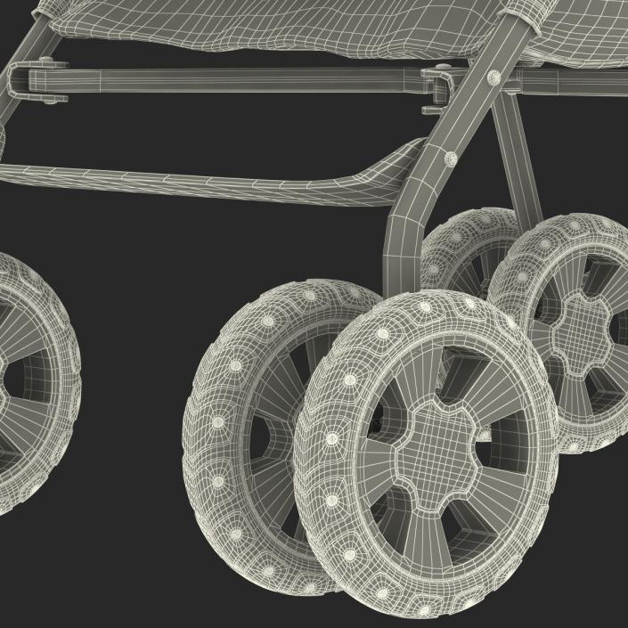 Baby Stroller Green 3D model