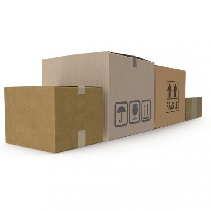 3D Cardboard Boxes Collection