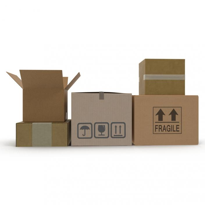 3D Cardboard Boxes Collection 2 model