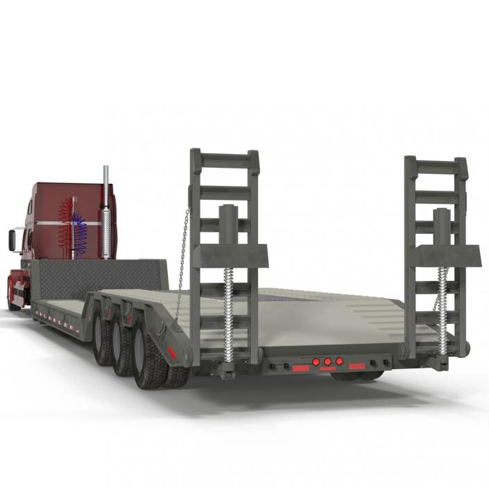 Truck and Double Drop Lowboy Tri Axle Trailer 2 3D