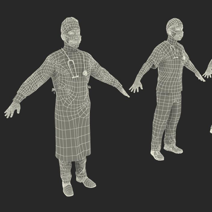 3D Male Rigged Surgeons Collection