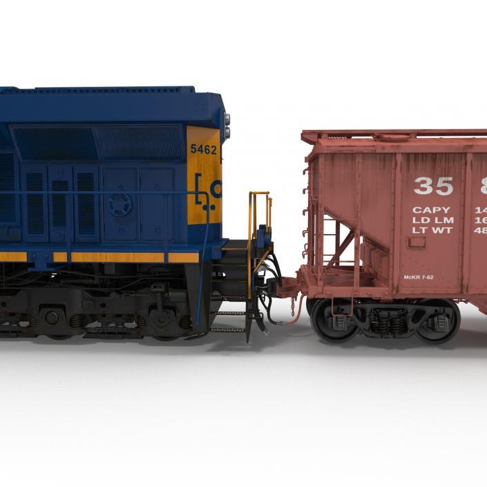Train ES40DC CSX Blue and Covered Hopper Car 3D model
