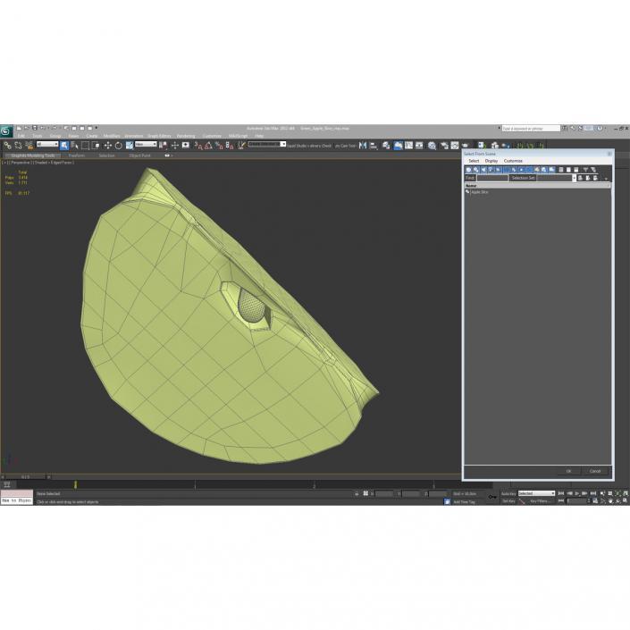 Green Apple Slice 3D