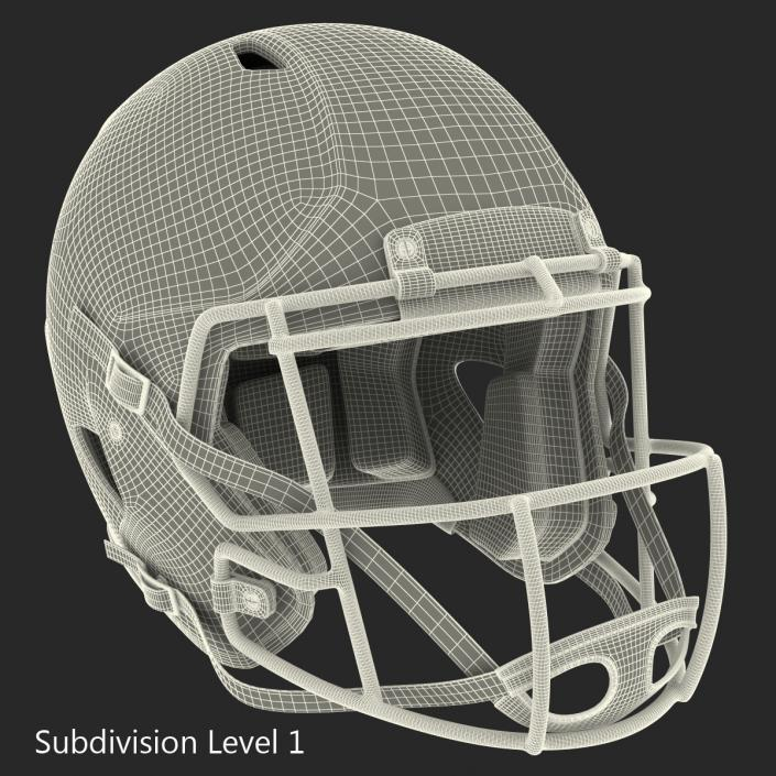 3D Football Helmet 3 Riddell Black