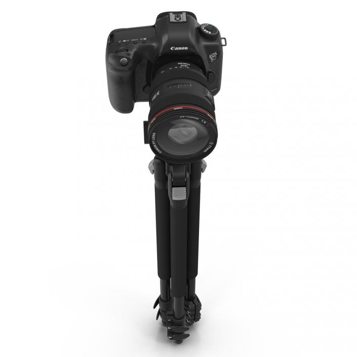 Digital Camera Canon EOS 5D with Tripod 3D model