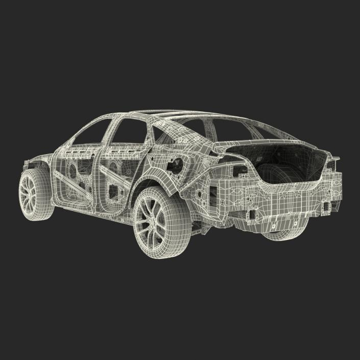 Car Frame with Chassis 2 3D model