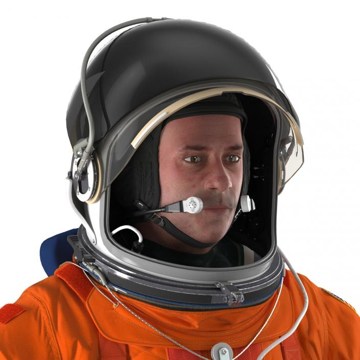 3D model US Astronaut Wearing Advanced Crew Escape Suit ACES Rigged 2