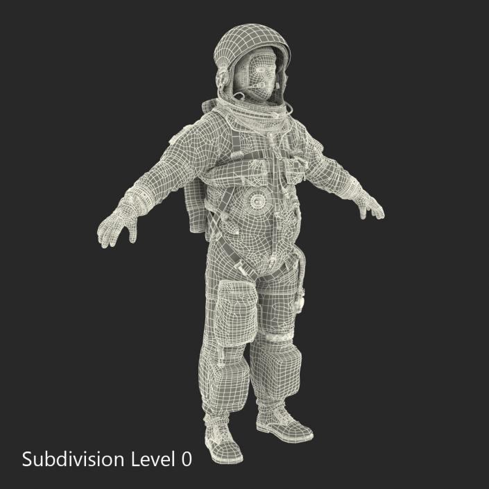 3D US Astronaut Wearing Advanced Crew Escape Suit ACES