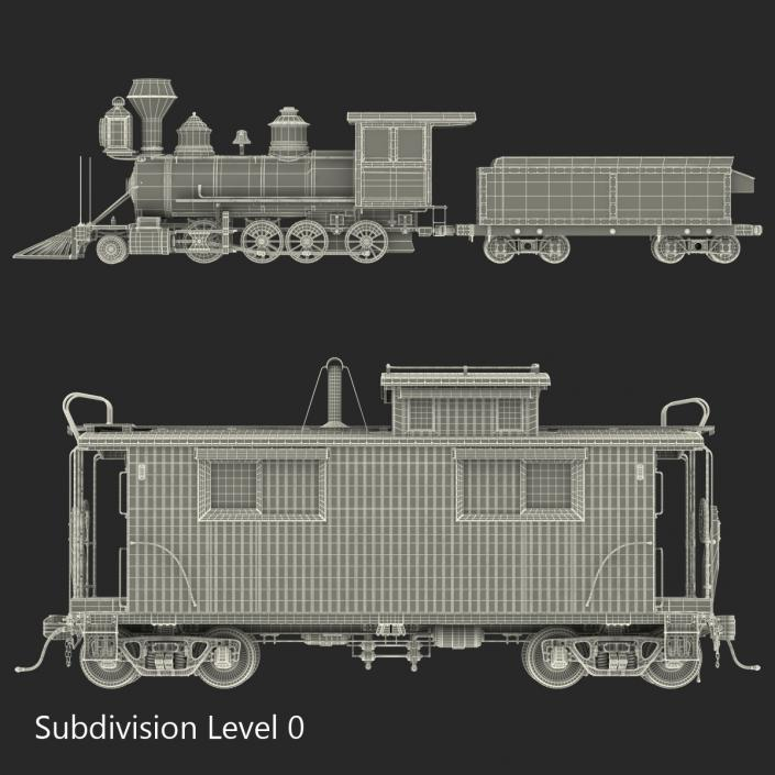 3D Steam Train and Caboose model