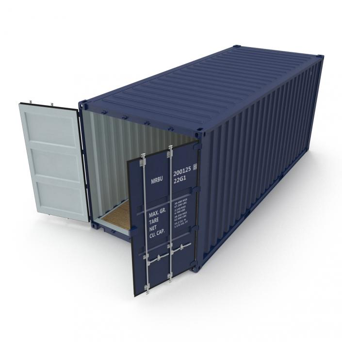 3D 20 ft ISO Container Blue 2