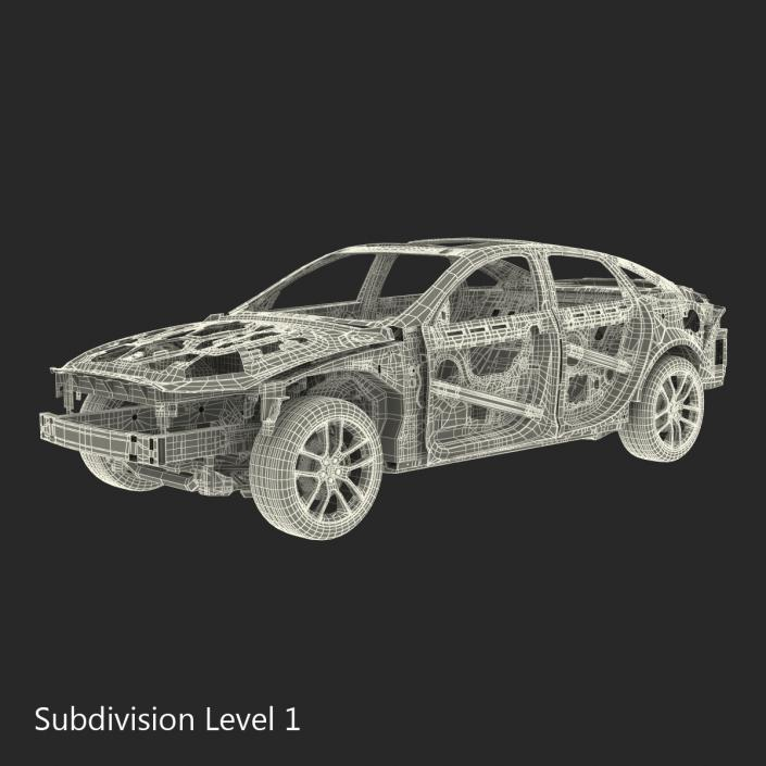 Car Frame with Chassis 3 3D model