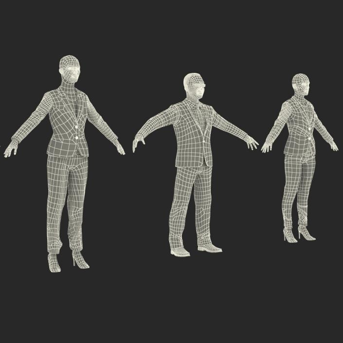 3D Rigged Business People Collection model