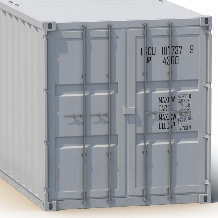 48 ft Shipping ISO Container White 3D model