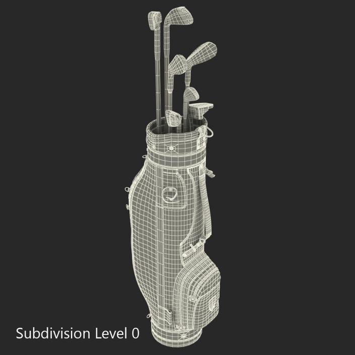 3D Golf Bag and Clubs 3 Black