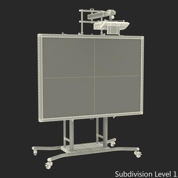 Interactive Whiteboard Mobile Stand Set 3D model